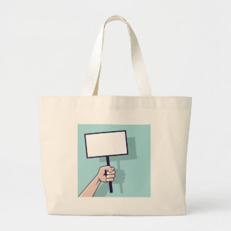 Hand holding a blank sign Vector Large Tote Bag