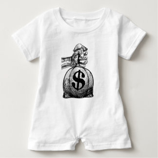 Hand Holding a Dollar Sign Burlap Sack Money Bag Baby Romper