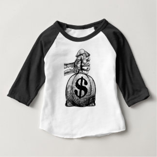 Hand Holding a Dollar Sign Burlap Sack Money Bag Baby T-Shirt