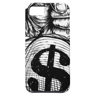 Hand Holding a Dollar Sign Burlap Sack Money Bag iPhone 5 Cover
