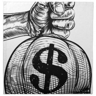 Hand Holding a Dollar Sign Burlap Sack Money Bag Napkin