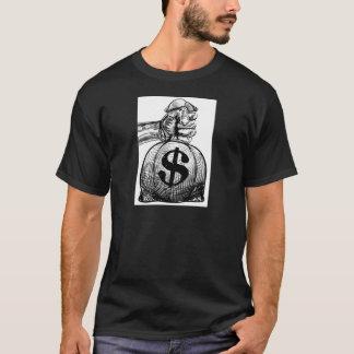 Hand Holding a Dollar Sign Burlap Sack Money Bag T-Shirt
