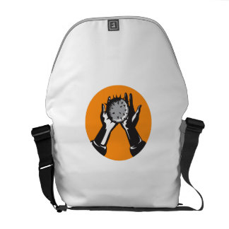 Hand Holding Ball with Spikes Circle Woodcut Commuter Bag