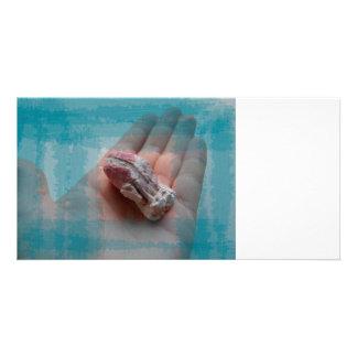 hand holding barnacle seashell teal custom photo card