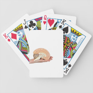 Hand holding brain hemisphere on white background bicycle playing cards