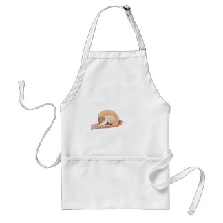 Hand holding brain hemisphere on white background standard apron