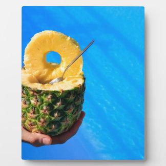 Hand holding fresh pineapple above swimming pool plaque