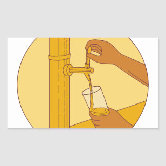 Hand Holding Glass Pouring Beer Tap Circle Drawing