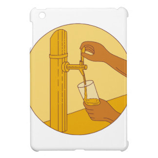 Hand Holding Glass Pouring Beer Tap Circle Drawing iPad Mini Cover