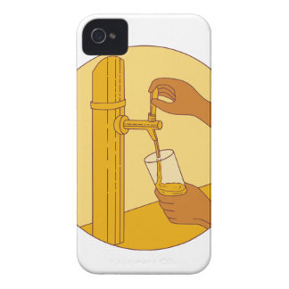 Hand Holding Glass Pouring Beer Tap Circle Drawing iPhone 4 Covers