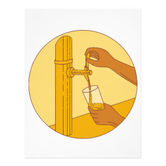 Hand Holding Glass Pouring Beer Tap Circle Drawing Letterhead