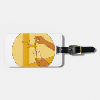 Hand Holding Glass Pouring Beer Tap Circle Drawing Luggage Tag