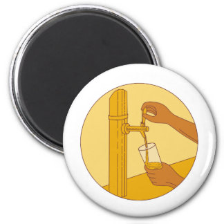 Hand Holding Glass Pouring Beer Tap Circle Drawing Magnet