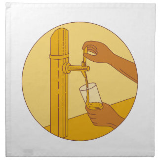 Hand Holding Glass Pouring Beer Tap Circle Drawing Napkin