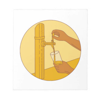 Hand Holding Glass Pouring Beer Tap Circle Drawing Notepad
