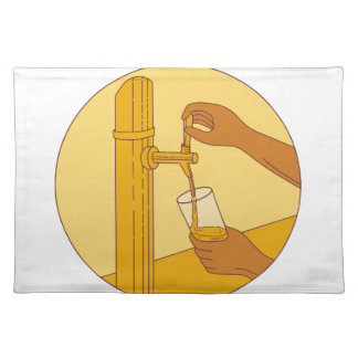 Hand Holding Glass Pouring Beer Tap Circle Drawing Placemat