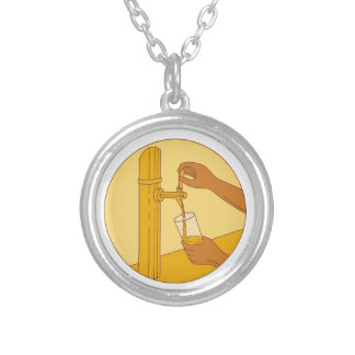 Hand Holding Glass Pouring Beer Tap Circle Drawing Silver Plated Necklace