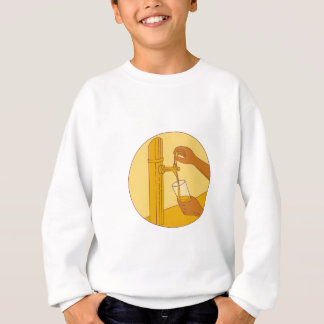 Hand Holding Glass Pouring Beer Tap Circle Drawing Sweatshirt