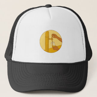Hand Holding Glass Pouring Beer Tap Circle Drawing Trucker Hat