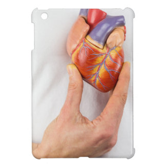 Hand holding model heart on chest iPad mini cases