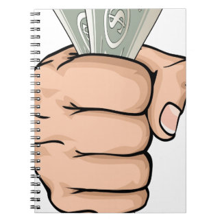 Hand holding money drawing spiral notebook