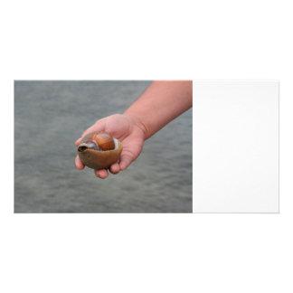 hand holding seashell ocean shore image custom photo card