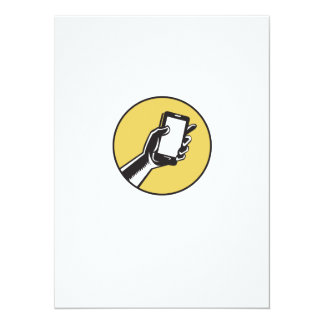 Hand Holding Smartphone Circle Woodcut Card