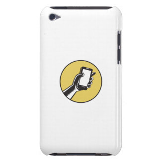 Hand Holding Smartphone Circle Woodcut iPod Touch Cover