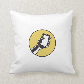 Hand Holding Smartphone Circle Woodcut Throw Pillow