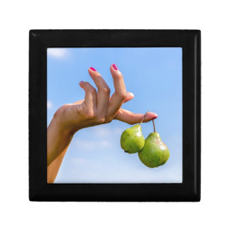 Hand holding two hanging green pears in blue sky gift box
