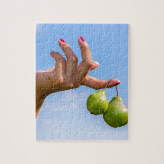 Hand holding two hanging green pears in blue sky jigsaw puzzle