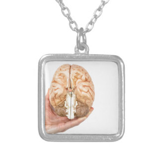 Hand holds model human brain on white background silver plated necklace