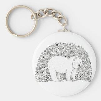 Hand Illustrated Artsy Floral Polar Bear Keychain