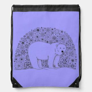 Hand Illustrated Artsy Floral Polar Bear Pen Art Drawstring Backpack
