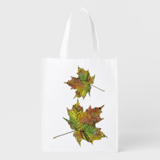 Hand Illustrated Artsy Maple Leaf Reusable Grocery Bag