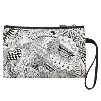 hand illustrated black and white cosmetic bag