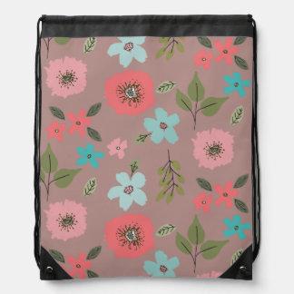 Hand Illustrated Floral Print Drawstring Bag
