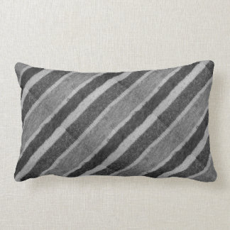 hand knitted black and white diaganol striped lumbar pillow