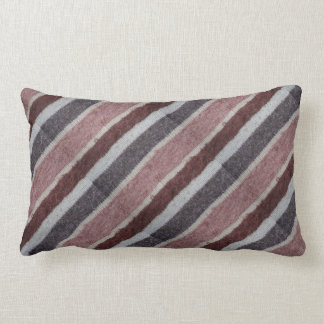 hand knitted brown and biege diaganon striped lumbar pillow