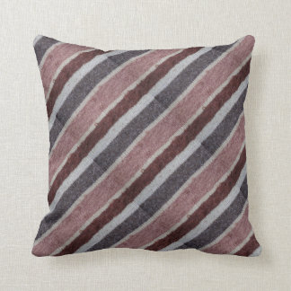 hand knitted brown and biege striped design throw pillow