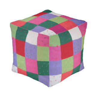 hand knitted patchwork squares colorful design pouf