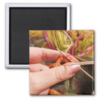 Hand Knitting Square Magnet