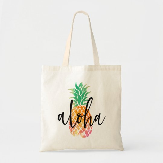 hand lettered aloha tropical watercolor pineapple tote bag