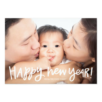 Hand Lettered Full Bleed New Year Photo Card