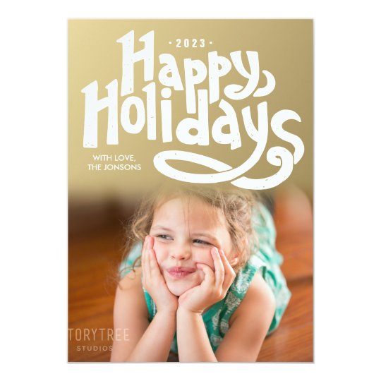 Hand Lettered Happy Holidays Modern Photo Card