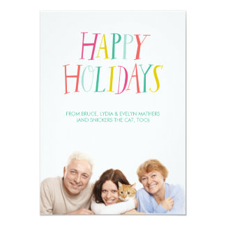 Hand Lettered Happy Holidays Photo Card