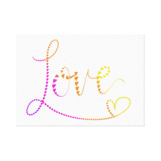 Hand Lettered Hearts Love Canvas Print