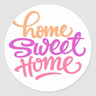 HAND LETTERED HOME SWEET HOME | HOUSEWARMING PARTY CLASSIC ROUND STICKER