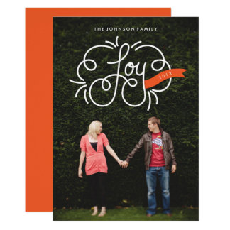"""hand lettered """"joy"""" holiday photo card"""