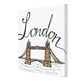 Hand Lettered London Bridge 2 Canvas Print
